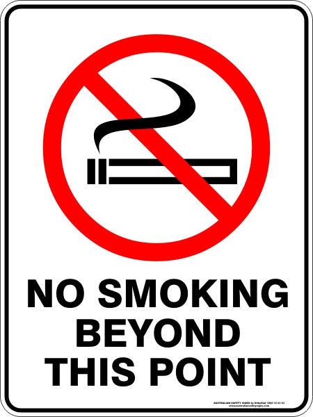 No Smoking Beyond This Point Australian Safety Signs