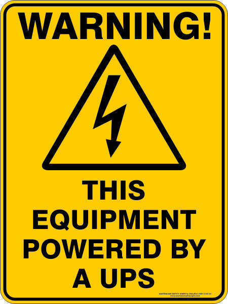 Warning This Equipment Powered By A Ups Australian