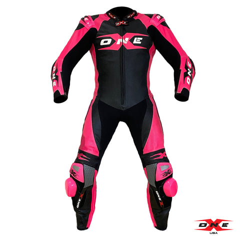 OneX USA XR3 Pro Race Leather Racing Suit - Black/Fluor Pink