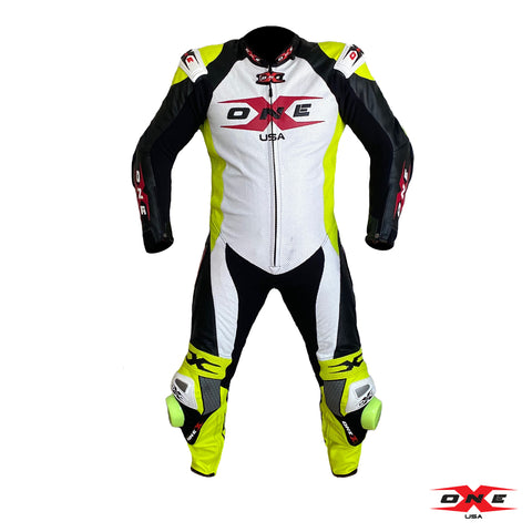OneX USA XR3 Pro Race Leather Racing Suit - White/Fluor Yellow