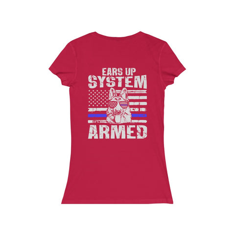 "Women's Jersey Short Sleeve V-Neck ""Ears Up System Armed"" tee"