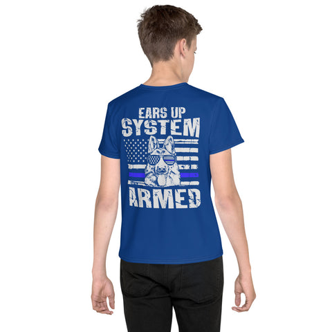 "K9LifeCo - ""Ears Up System Armed"" - Youth T-Shirt - Blue"