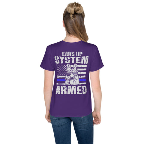 "K9LifeCo - ""Ears Up System Armed"" - Youth T-Shirt - Purple"