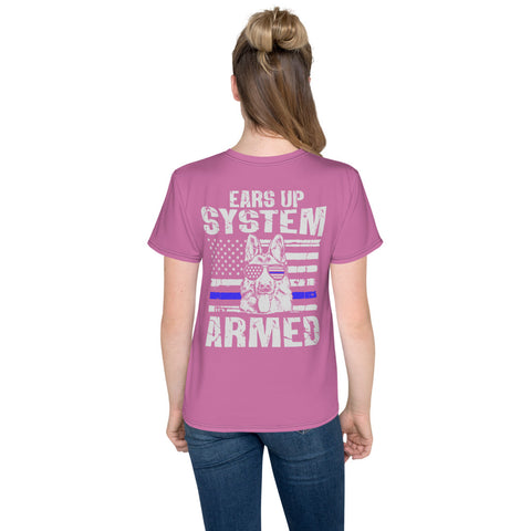 "K9LifeCo - ""Ears Up System Armed"" - Youth T-Shirt - PINK"