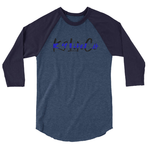 K9LifeCo - Thin Blue Line Logo - 3/4 sleeve raglan shirt