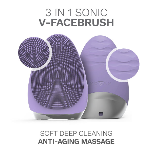 V-Facebrush (Lavender) Front and Back view of the sonic facial cleansing brush