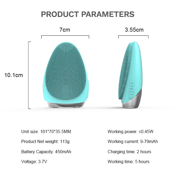 Product Parameter of V-Facebrush (Turquoise Green) Front and Side View of the silicone face brush