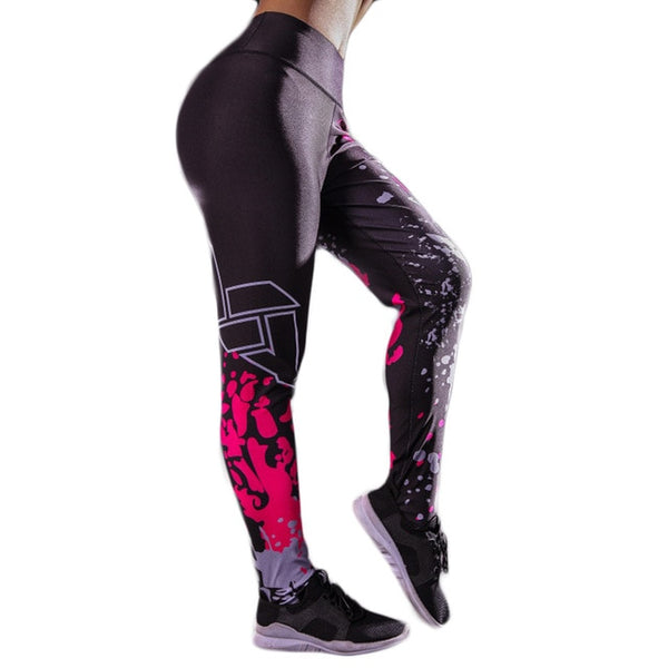 Letter Printed Women Sport Leggings