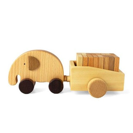 Wooden Elephant and Cart