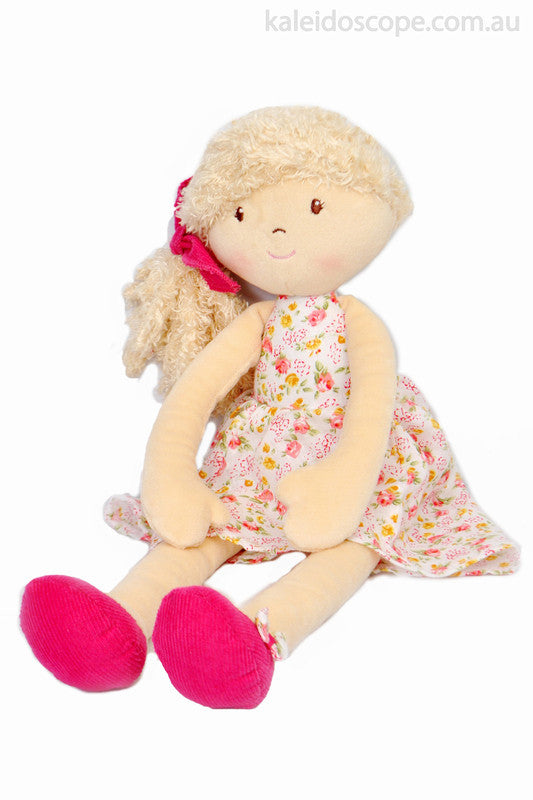 Rosemary with Beige Hair and Flower Print Dress - Earth Toys - 1