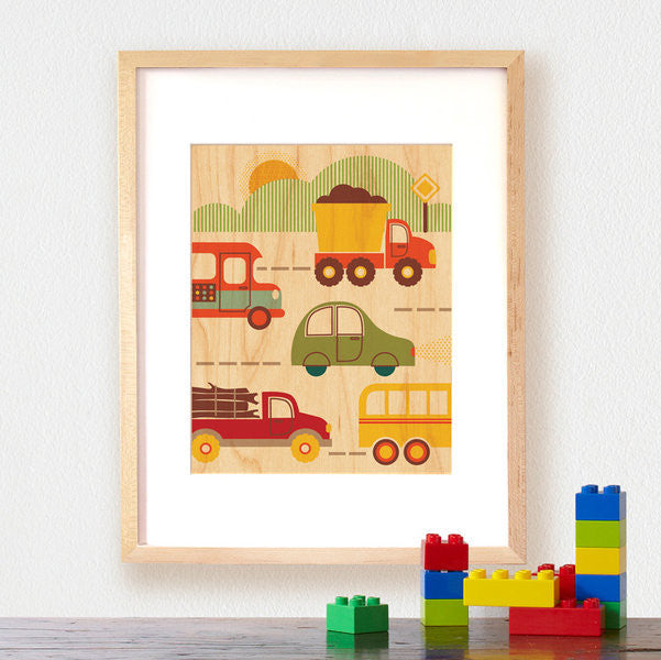 Petit Collage - Large Wooden Print - By Land (Framed) - Earth Toys
