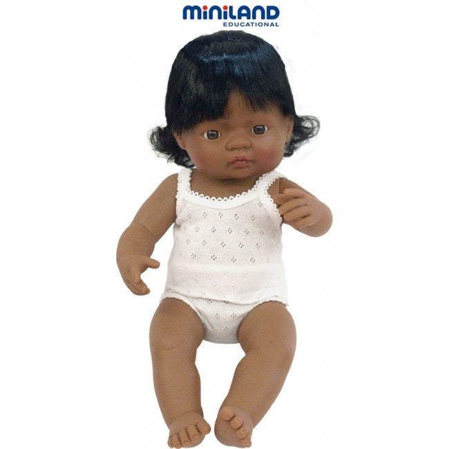 Miniland Anatomically Correct Baby Doll Latin American Girl, 38 cm - Earth Toys - 2