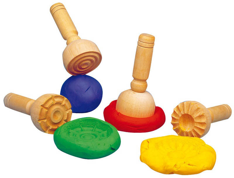 Wooden Dough Stampers Set of 4 - Earth Toys - 1