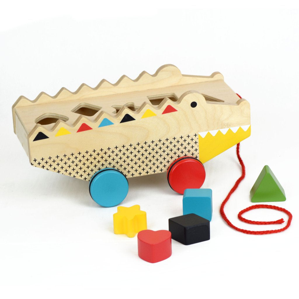 Petit Collage - wooden pull along shape sorter croc