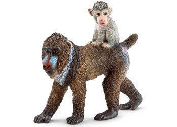 Schleich - Mandrill Female With Baby - Earth Toys