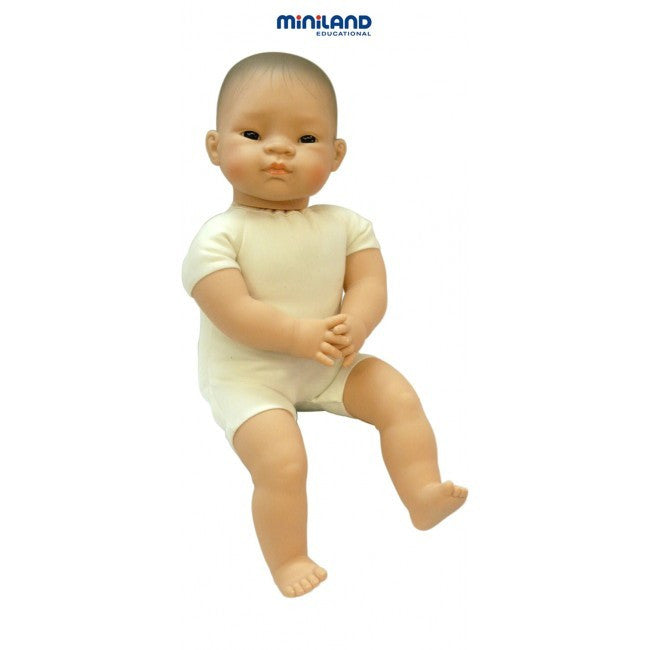Miniland Soft Bodied Doll with articulated head, Asian, 40 cm - Earth Toys