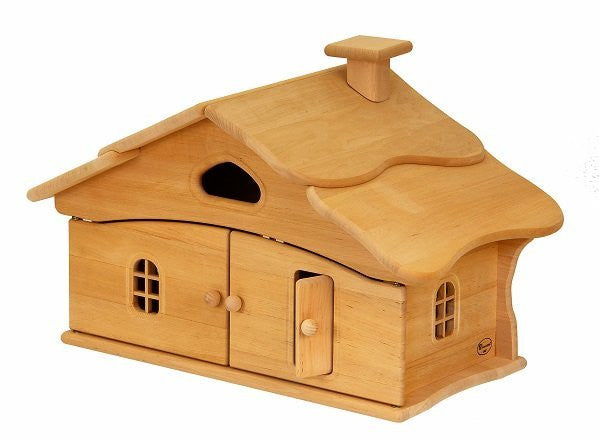 Natural Wooden Doll House - Single Story - Earth Toys - 1