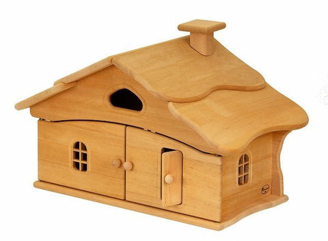 Natural Wooden Doll House - Single Story