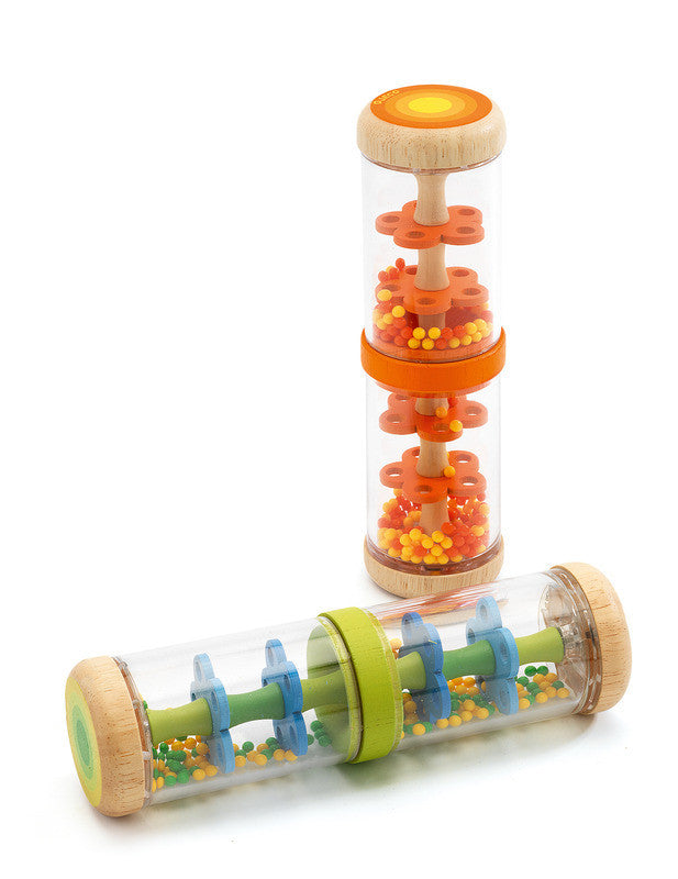 Orange - Wooden Baby Rain Shaker - Earth Toys