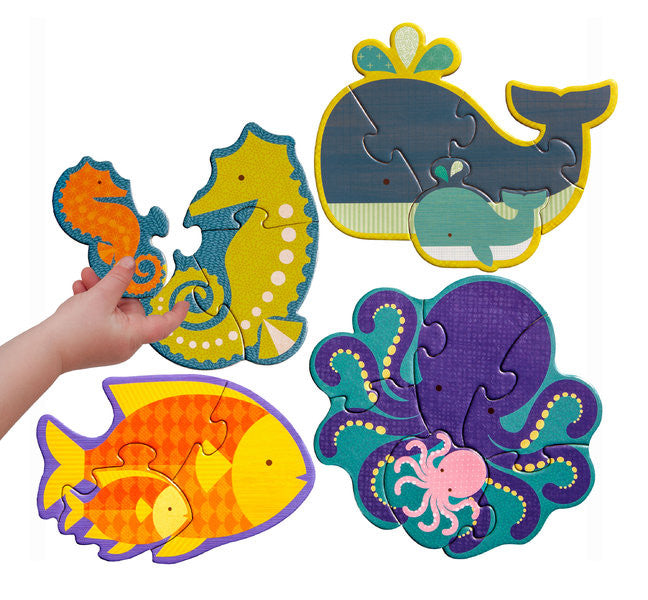 Petit Collage - Beginner Puzzle - Ocean Babies - Earth Toys - 2