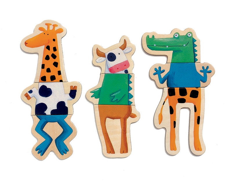 Crazy Animals Wood Magnets 24 pc