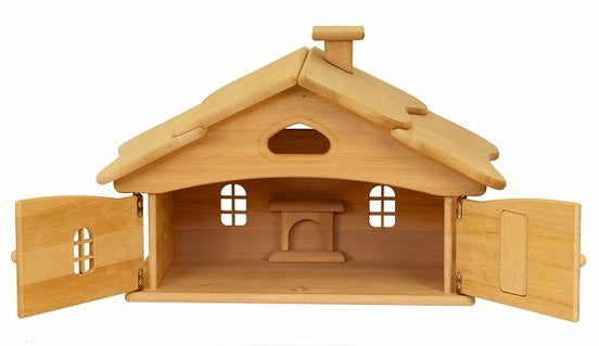 Natural Wooden Doll House - Single Story - Earth Toys - 2