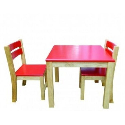 Red Top Timber Table With Red Seat Stacking Chairs - Earth Toys