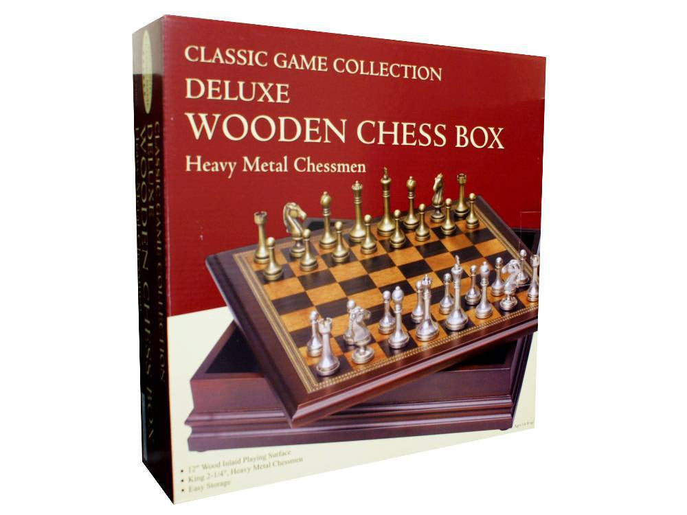 "Chess Set - Heavy metal chess men 12"" board - Earth Toys"