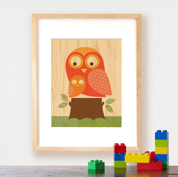 Petit Collage - Large Wooden Print - Owl + Baby (Framed) - Earth Toys