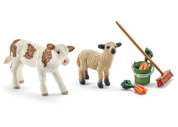 Schleich – Stable Cleaning Kit With Calf - Earth Toys