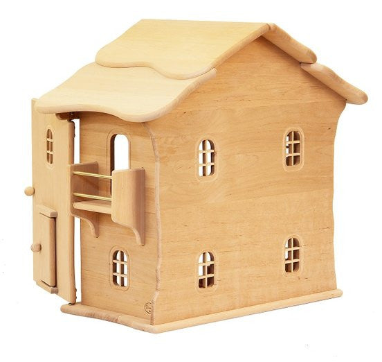 Natural Wooden Doll House - two story - Earth Toys - 3