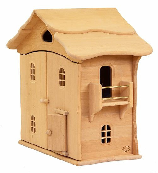 Natural Wooden Doll House - two story - Earth Toys - 4