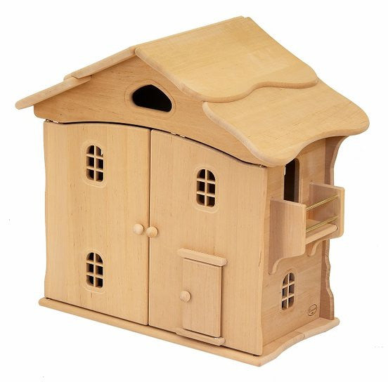 Natural Wooden Doll House - two story - Earth Toys - 1
