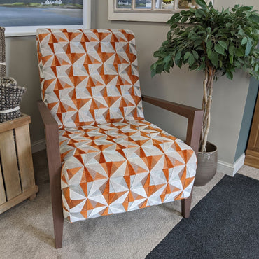 Bali Accent Chair - Amber Fragment Fabric with Walnut Arms