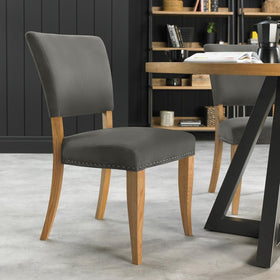 Bentley Designs Indus Rustic Oak Upholstered Chairs | Taylors on the High Street
