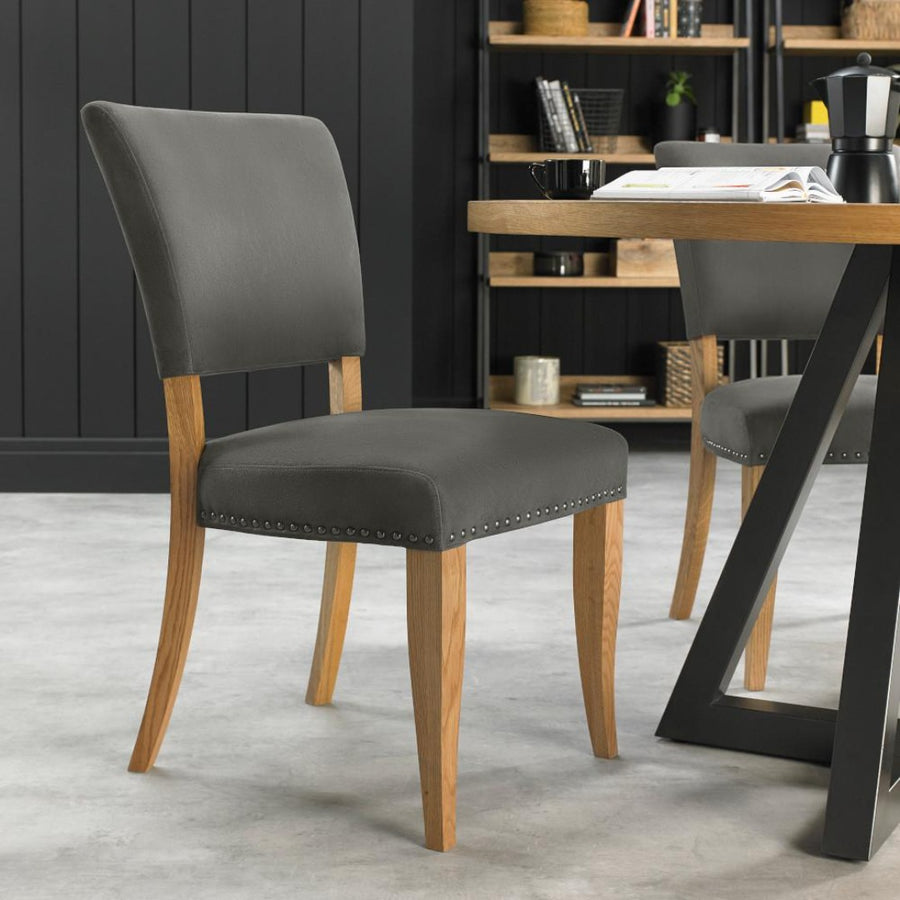 Indus Rustic Oak Upholstered Chair (Pair) Dark Grey