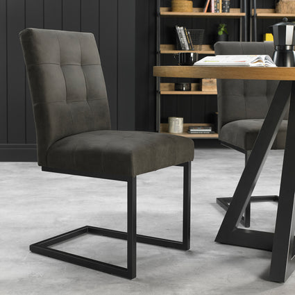 Indus Upholstered Cantilever Chair (Pair) Dark Grey