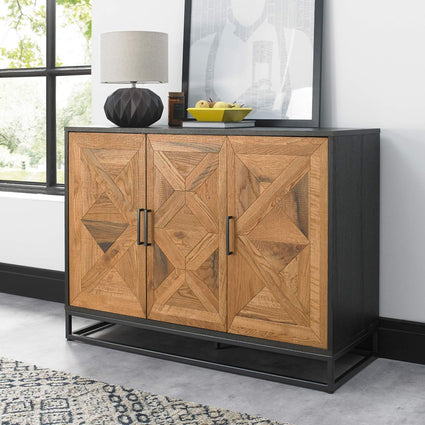 Indus Rustic Oak & Peppercorn Narrow Sideboard with Internal Drawer