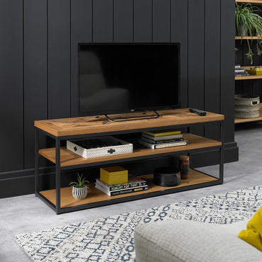 Indus Rustic Oak Open Entertainment Unit