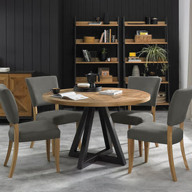 Bentley Design Indus Rustic Oak Circular Dining Table | Taylors on the High Street