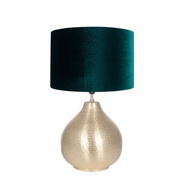 Matt Brass Hammered Metal Table Lamp with Forest Green Velvet Shade
