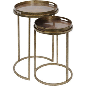 Vienna Antique Gold Nest of 2 Tables - with Removable Trays