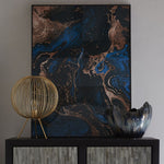 Blue, Black And Gold Marble Effect Glass Wall Art | Taylors on the High Street