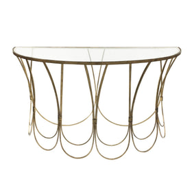 Libra Deco Champagne Iron Console Table | Taylors on the High Street
