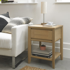 Bentley Designs Bergen Oak Lamp Table with Drawer | Taylors on the High Street