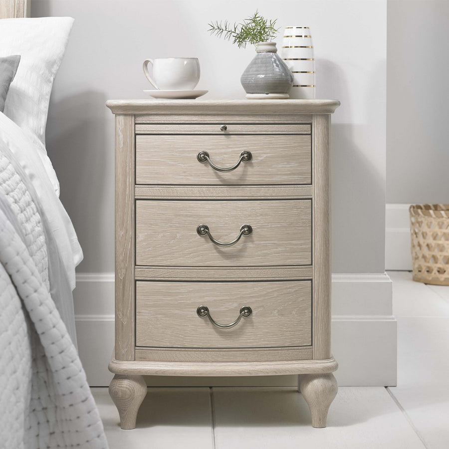 Bentley Designs Bordeaux Chalk Oak 3 Drawer Nightstand | Taylors on the High Street