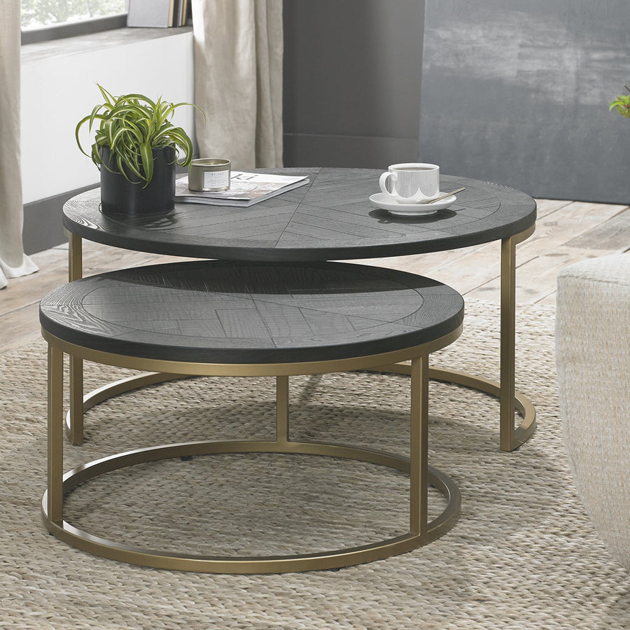 Bentley Designs Chevron Peppercorn Ash Coffee Nest of Tables | Taylors on the High Street