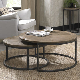 Bentley Designs Chevron Weathered Ash Coffee Nest of Tables | Taylors on the High Street