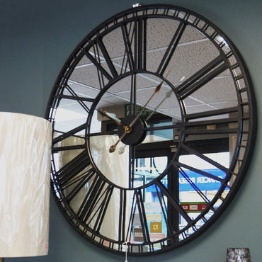 Large Mirrored Skeleton Clock