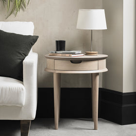 Bentley Designs Dansk Scandi Oak Lamp Table with Drawer | Taylors on the High Street